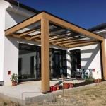 Drevený modern prístrešok s krytinou sklo 4