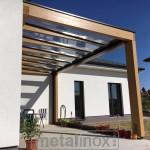 Drevený modern prístrešok s krytinou sklo 6