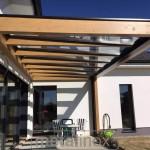 Drevený modern prístrešok s krytinou sklo 8